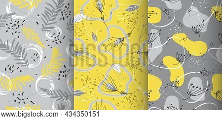 Doodle Memphis Seamless Pattern. Vector Fashion Spring Print. Art Abstract Texture. Doodle Flower Il