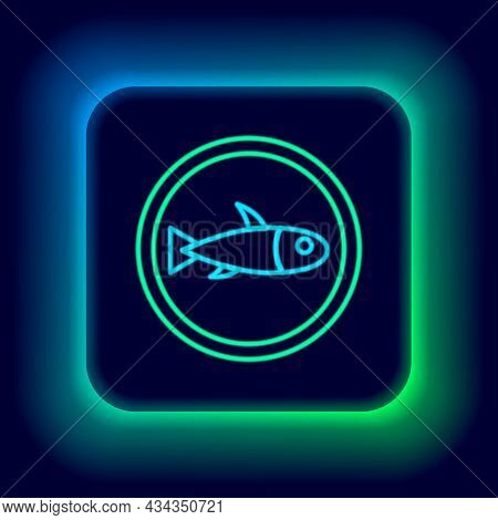 Glowing Neon Line Served Fish On A Plate Icon Isolated On Black Background. Colorful Outline Concept