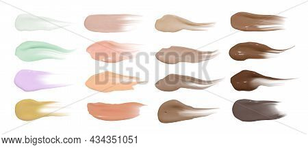 Foundation Smears. Makeup Concealer Base. Isolated Paint Swatch. Liquid Brown Background. Foundation