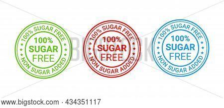 Sugar Free Round Stamp, Icon. No Sugar Added Label. Diabetic Rubber Badge. Certified Sticker,mark. G