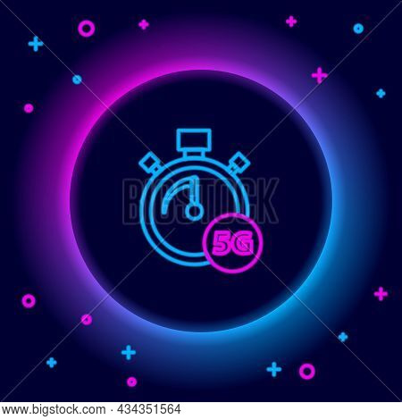 Glowing Neon Line Digital Speed Meter Concept With 5g Icon Isolated On Black Background. Global Netw