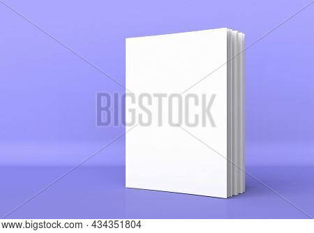 Book Cover Mockup 3d Render Illustration. Closed Clear Notepad With Realistic Light And Shadow. Sket