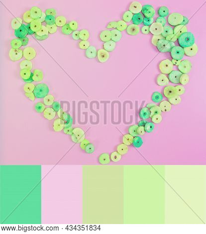 Lemongrass Scented Buttons Shaped Into A Heart On A Pink Background With Text Copy Space. Color Them