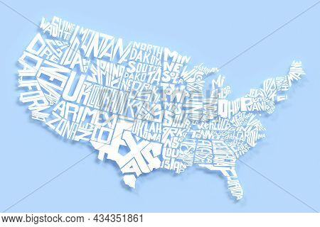 United States Of America Geography Map White Letters. 3d Render Of Usa Territory Lettering. Typograp