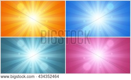 Radial Lines, Explosion Effect. Abstract Star, Set Of Four Vector Backgrounds