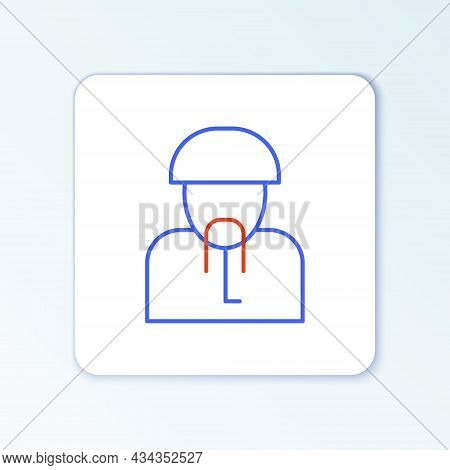 Line Ukrainian Cossack Icon Isolated On White Background. Colorful Outline Concept. Vector