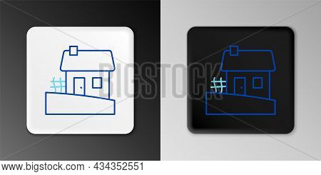 Line Old Ukrainian House Hut Icon Isolated On Grey Background. Traditional Village House. Colorful O