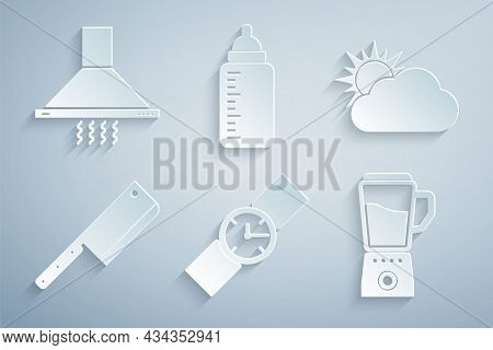 Set Wrist Watch, Sun And Cloud Weather, Meat Chopper, Blender, Baby Bottle And Kitchen Extractor Fan