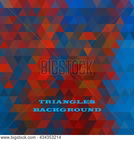 Multicolor Blue, Red Geometric Rumpled Triangular Low Poly Style Gradient Illustration Graphic Backg