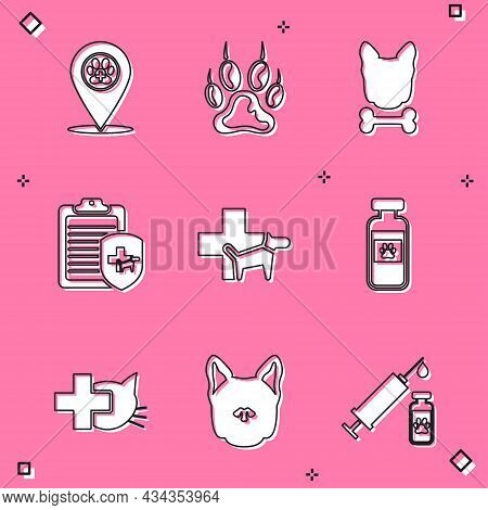 Set Location Veterinary, Paw Print, Dog And Bone, Clinical Record Pet, Veterinary Clinic And Pets Vi