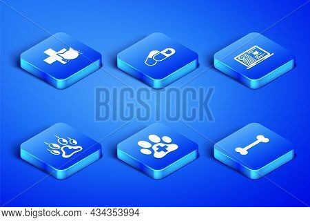 Set Dog Bone, Veterinary Clinic, , Paw Print, Cat And Pills And Clinical Record Cat Laptop Icon. Vec