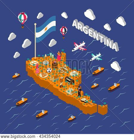Argentina Attractions For Tourists And Travelers Isometric Map Poster With National Football Symbols