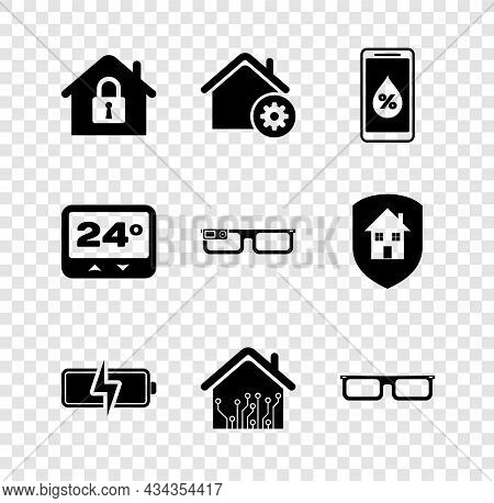 Set House Under Protection, Smart Home Settings, Humidity For Smart, Battery, Glasses, Thermostat An