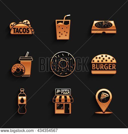 Set Donut, Pizzeria Building Facade, Location With Slice Pizza, Burger, Bottle Of Water, Soda Drink