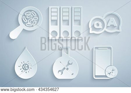 Set Bioengineering Service, Question And Answer, Dirty Water Drop, Mobile, Office Folders And Microo