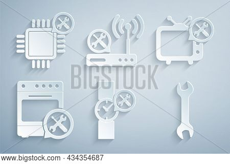 Set Wrist Watch Service, Tv, Oven, Wrench, Router Wi-fi And Processor Icon. Vector
