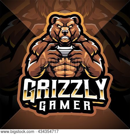 Grizzly Gamer Esport Mascot Logo Design With Text