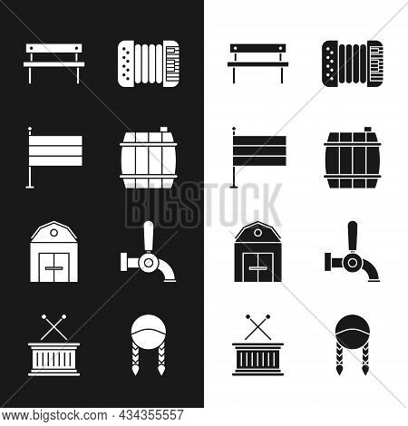 Set Wooden Barrel, National Germany Flag, Bench, Accordion, Farm House, Beer Tap, Braid And Musical