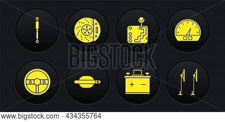 Set Steering Wheel, Speedometer, Car Door Handle, Battery, Gear Shifter, Brake Disk With Caliper, Wi
