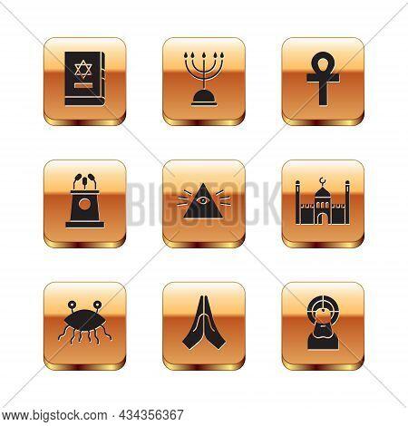 Set Jewish Torah Book, Pastafarianism, Hands In Praying Position, Masons, Stage Stand Tribune, Cross