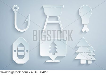 Set Location Of The Forest, Chicken Leg, Rafting Boat, Tree, Barbecue Grill And Fishing Hook Icon. V