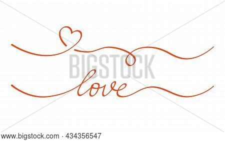 Heart And Love Swirl Divider. Hand Drawn Sketch Doodle Style. Line Scribble Heart Thread Vector Illu