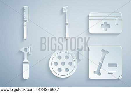 Set Surgery Lamp, First Aid Kit, Medical Otoscope Tool, X-ray Shots, Toothbrush And Saw Icon. Vector
