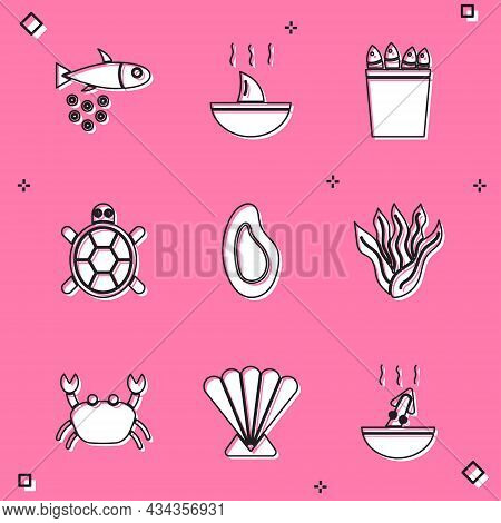 Set Fish With Caviar, Shark Fin Soup, Fishing Bucket Fishes, Turtle, Mussel, Seaweed, Crab And Scall