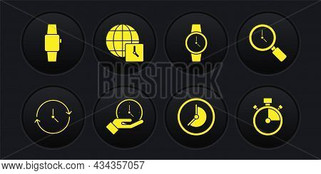 Set Clock, Magnifying Glass With Clock, Wrist Watch, World Time, Stopwatch And Smartwatch Icon. Vect