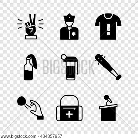 Set Hand Showing Two Finger, Police Officer, T-shirt Protest, Hooligan Shooting Stones, First Aid Ki
