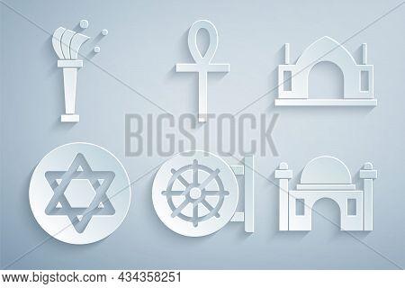 Set Dharma Wheel, Hindu Spiritual Temple, Star Of David, Muslim Mosque, Cross Ankh And Aspergillum I