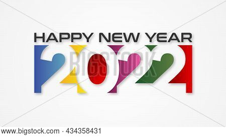 2022. 2022 Colorful Text. 2022 Happy New Year. 2022 Design Similar For Greetings, Invitations, Banne
