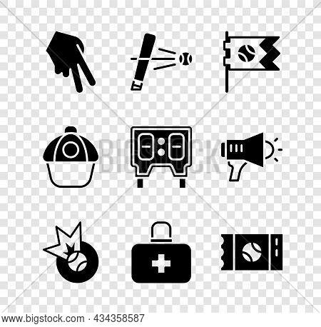 Set Baseball Glove, Bat With, Flag Baseball, First Aid Kit, Ticket, Cap And Mechanical Scoreboard Ic