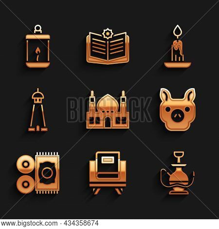 Set Muslim Mosque, Holy Book Of Koran, Hookah, Pig, Traditional Carpet, Tower Minaret, Burning Candl