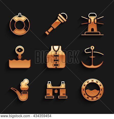 Set Life Jacket, Binoculars, Ship Porthole, Anchor, Smoking Pipe, Periscope, Lighthouse And Lifebuoy
