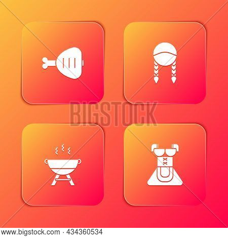 Set Chicken Leg, Braid, Barbecue Grill And Costume For Women Dirndl Icon. Vector