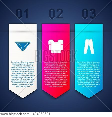 Set Men Underpants, Long Sleeve Shirt And Pants. Business Infographic Template. Vector
