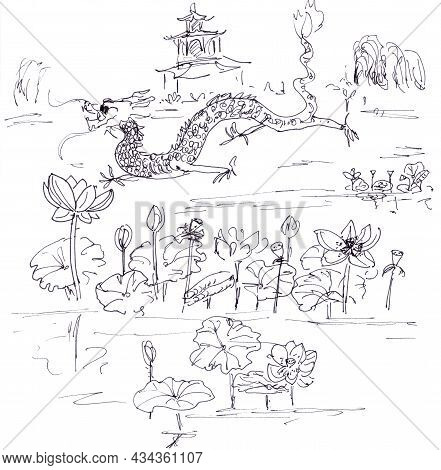 Chinese Dragon Among Lotuses Linear Black And White Drawing