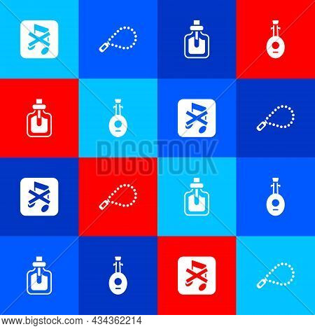 Set Speaker Mute, Rosary Beads Religion, Perfume And Lute Icon. Vector