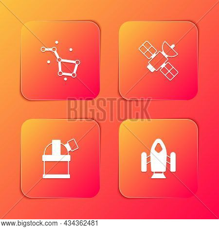 Set Great Bear Constellation, Satellite, Astronomical Observatory And Rocket Ship Icon. Vector