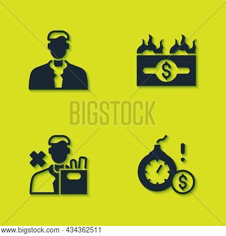 Set Worker, Money Bomb Dollar Crisis, Employee Dismissal And Burning Bill Icon. Vector