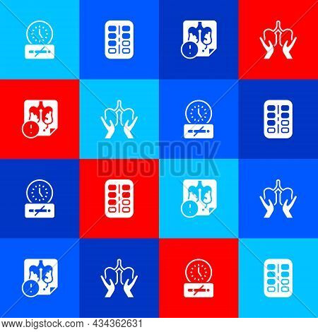 Set No Smoking Time, Nicotine Gum Blister Pack, Disease Lungs And Lungs Icon. Vector