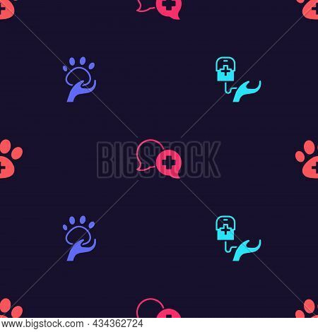 Set Blood Donation, Animal Volunteer, Dialogue With Doctor And Veterinary Clinic On Seamless Pattern