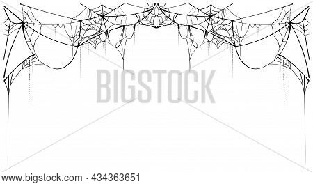 Black Torn Spider Web On White Background Template Card Frame Spiderweb For Halloween