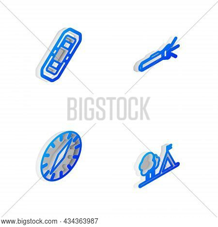 Set Isometric Line Flashlight, Rafting Boat, Compass And Tourist Tent With Flag Icon. Vector