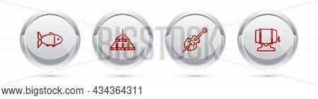 Set Line Fish, Massive Steel Chandelier, Violin And Wooden Barrel On Rack. Silver Circle Button. Vec