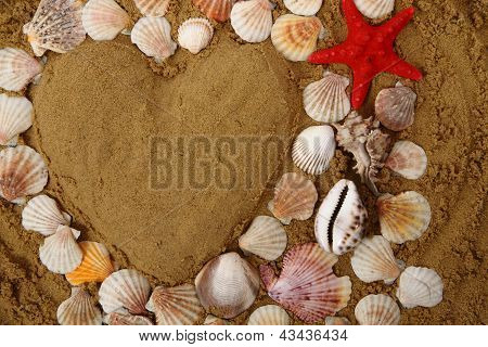 Heart From The Sea Shells And Sand