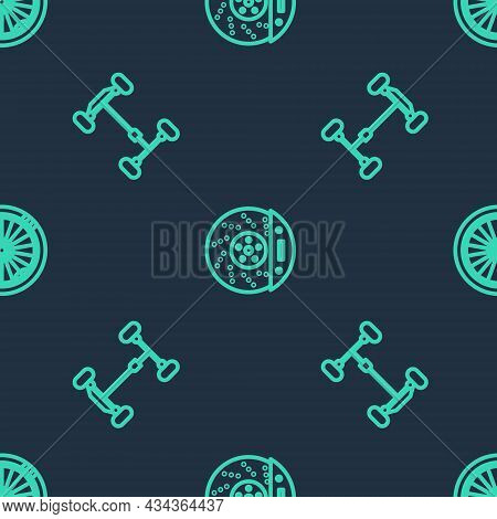 Set Line Car Brake Disk With Caliper, Chassis Car And Wheel On Seamless Pattern. Vector
