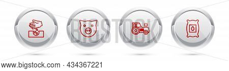 Set Line Seeds, Pig, Tractor And Pack Full Of Seeds Of Plant. Silver Circle Button. Vector