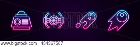 Set Line Space Capsule, Cosmic Ship, Comet Falling Down Fast And . Glowing Neon Icon. Vector